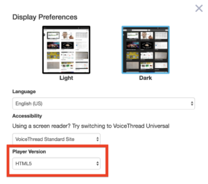VT Preferences Select HTML5 (screenshot)