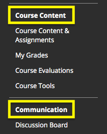 Course content and Communication are headers in course menu